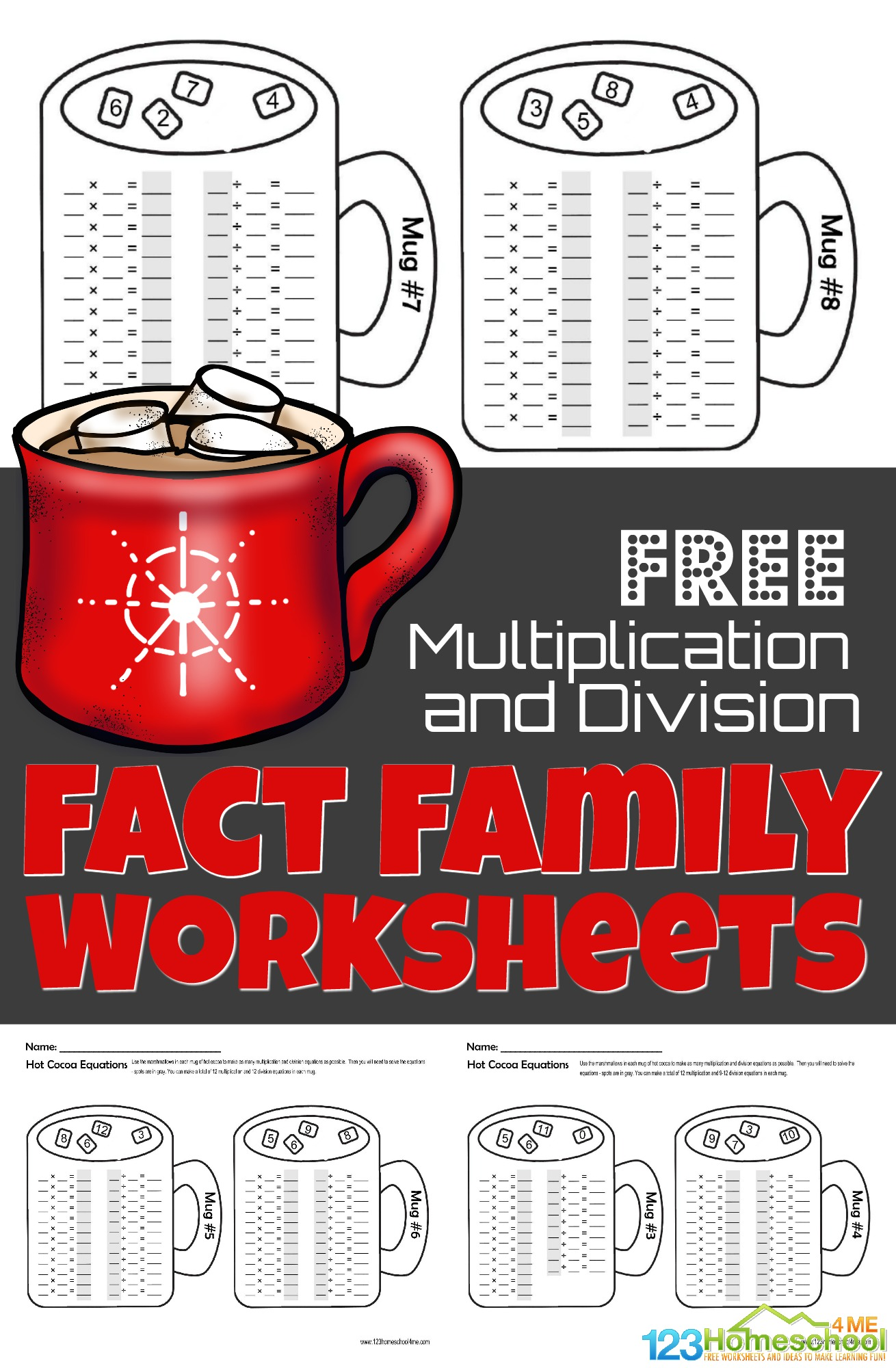 Free Winter Hot Chocolate Multiplication And Division Fact