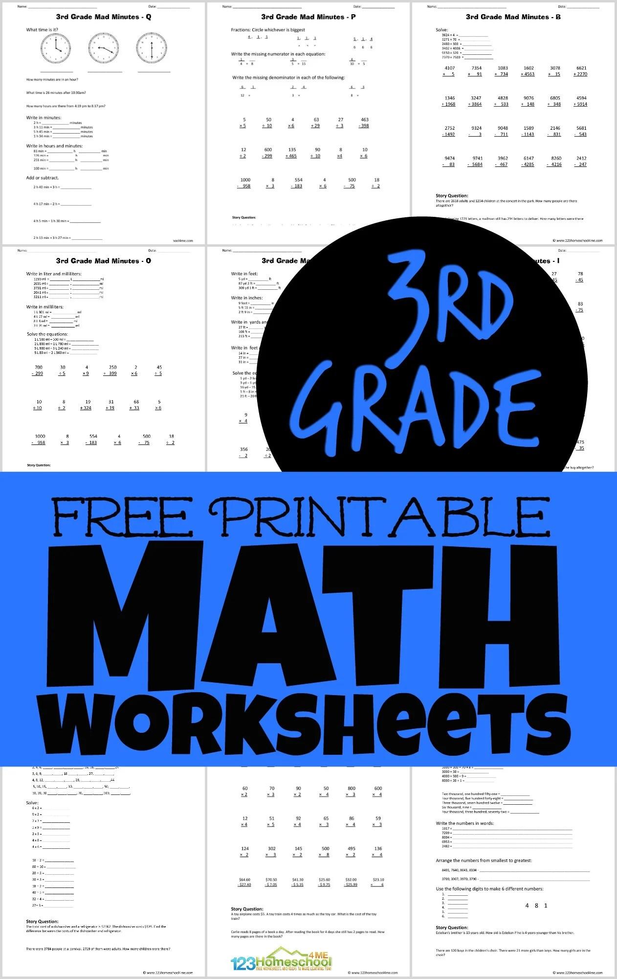 Free Printable 3rd Grade Math Worksheets