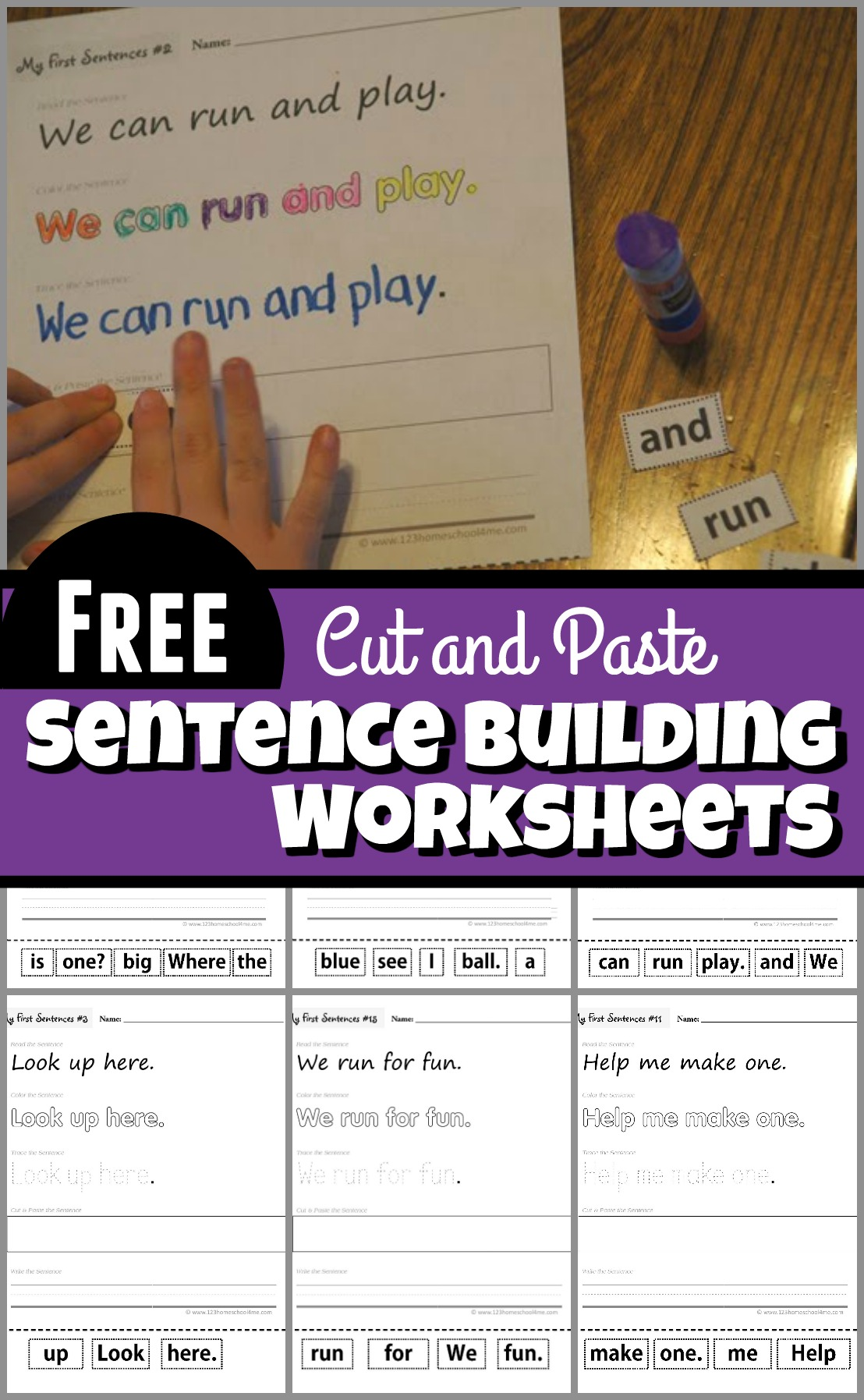 Cut And Paste Sentence Building Worksheets
