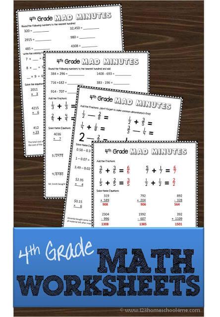 Printable 4th Grade Math Worksheets 123 Homeschool 4 Me