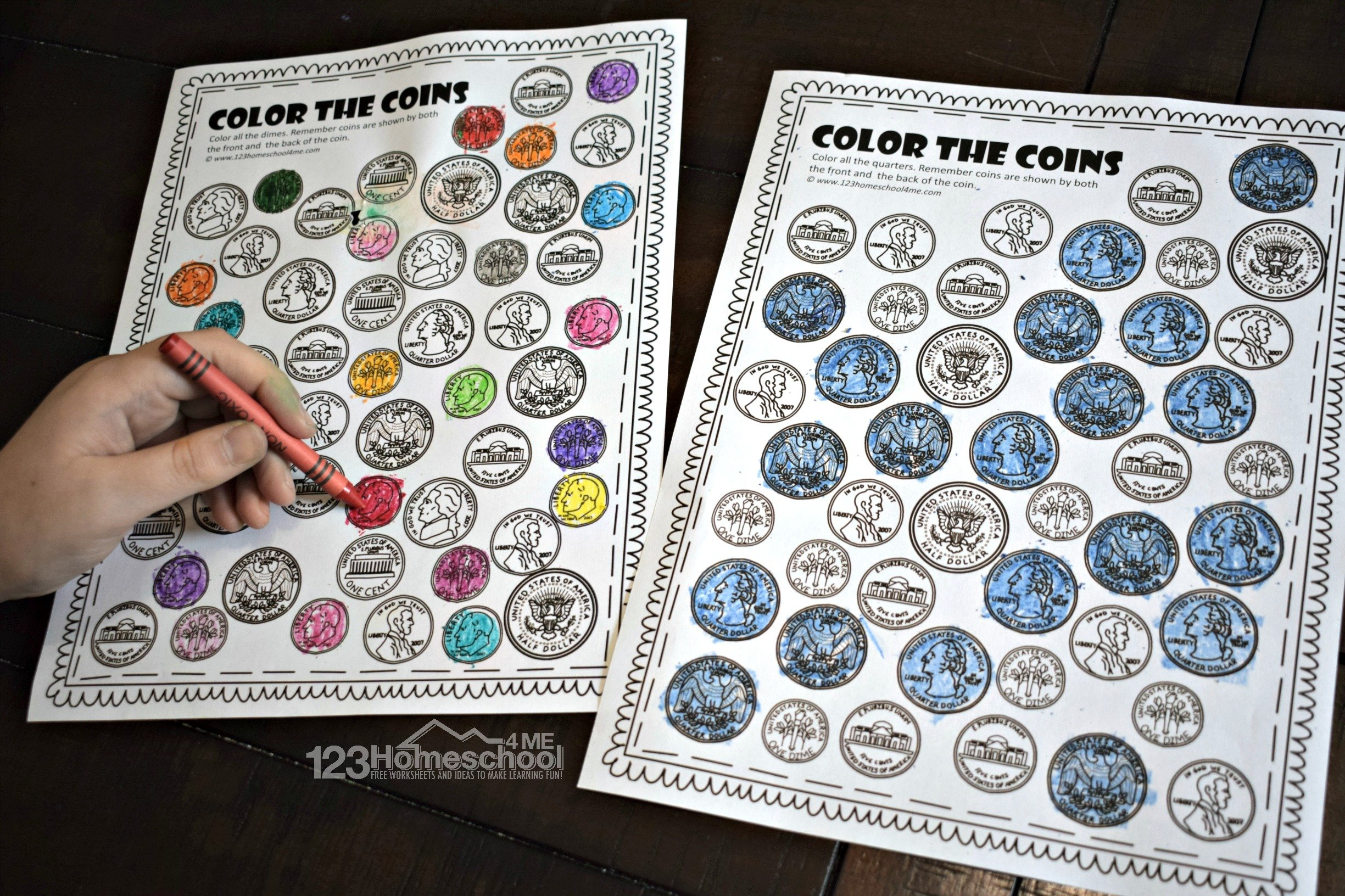 Color The Coins Money Worksheets