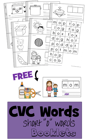 Free Cvc Short O Words Cut And Paste Book 123 Homeschool 4 Me