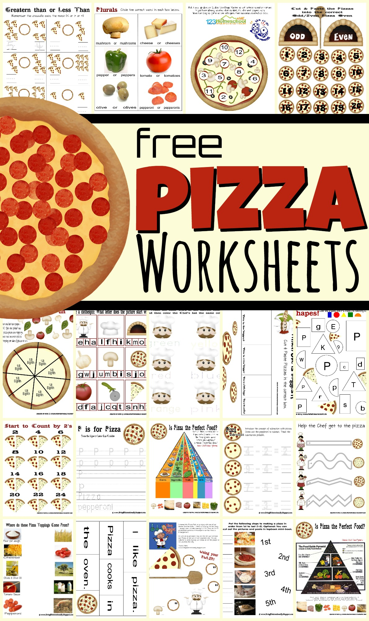 Free Pizza Worksheets For Kids