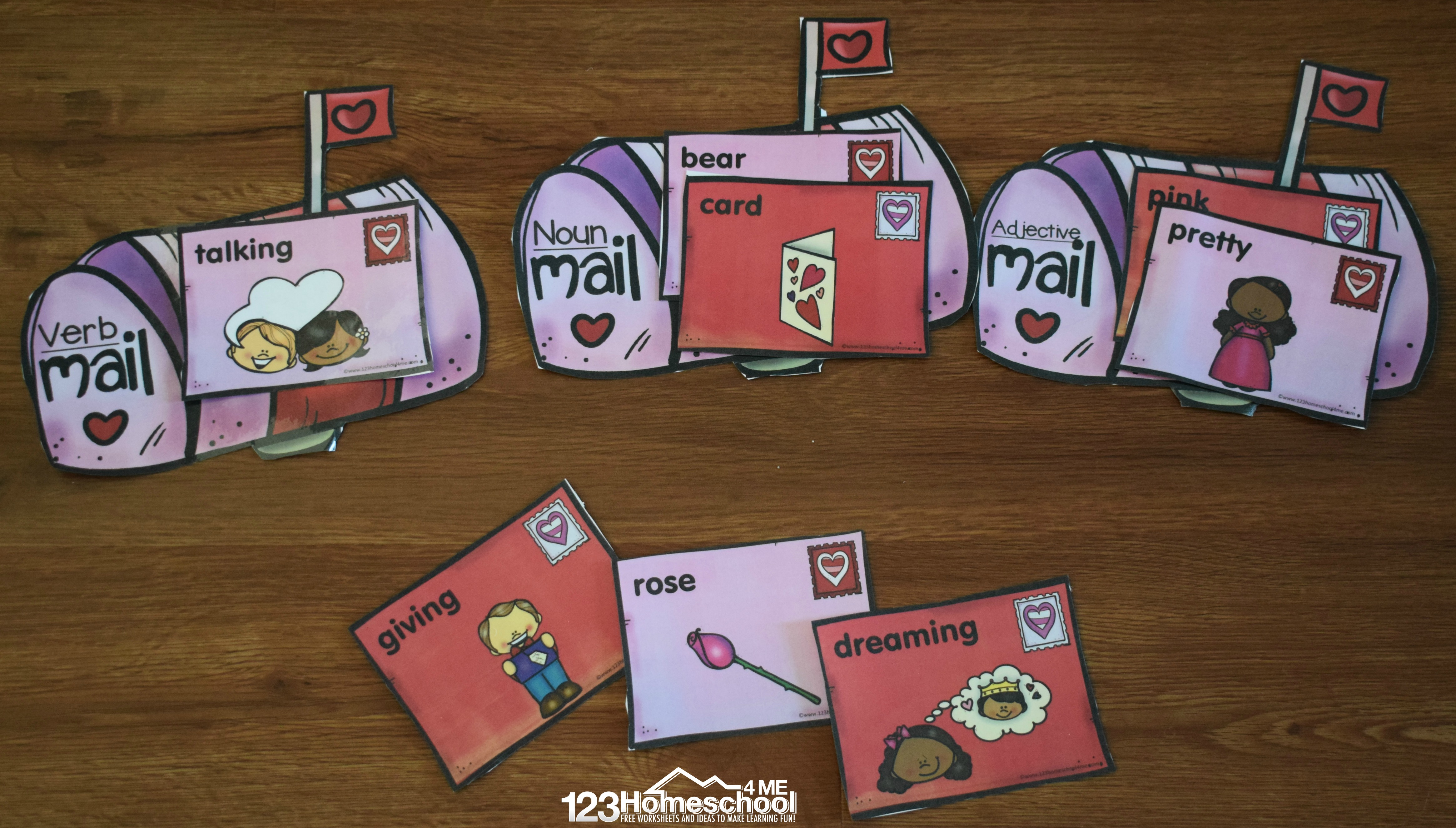 Free Parts Of Speech Valentine Mail Sorting