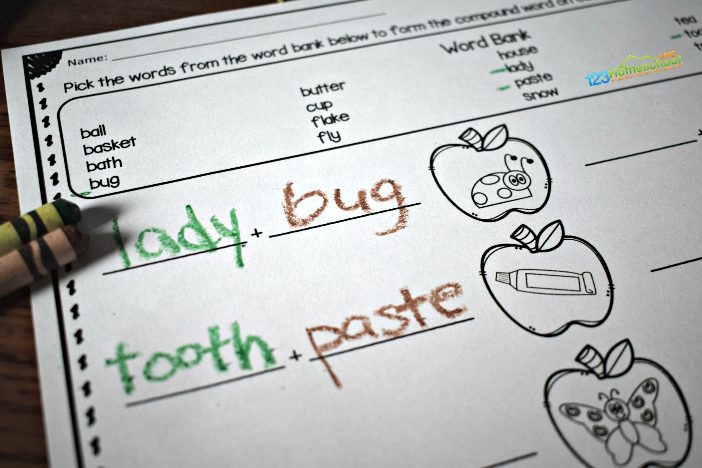 Apple Compound Words Worksheets