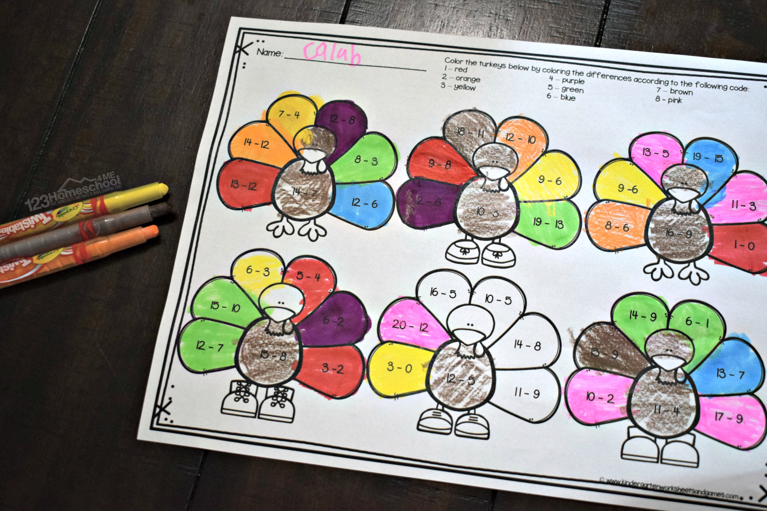 Free Turkey Subtraction Worksheets