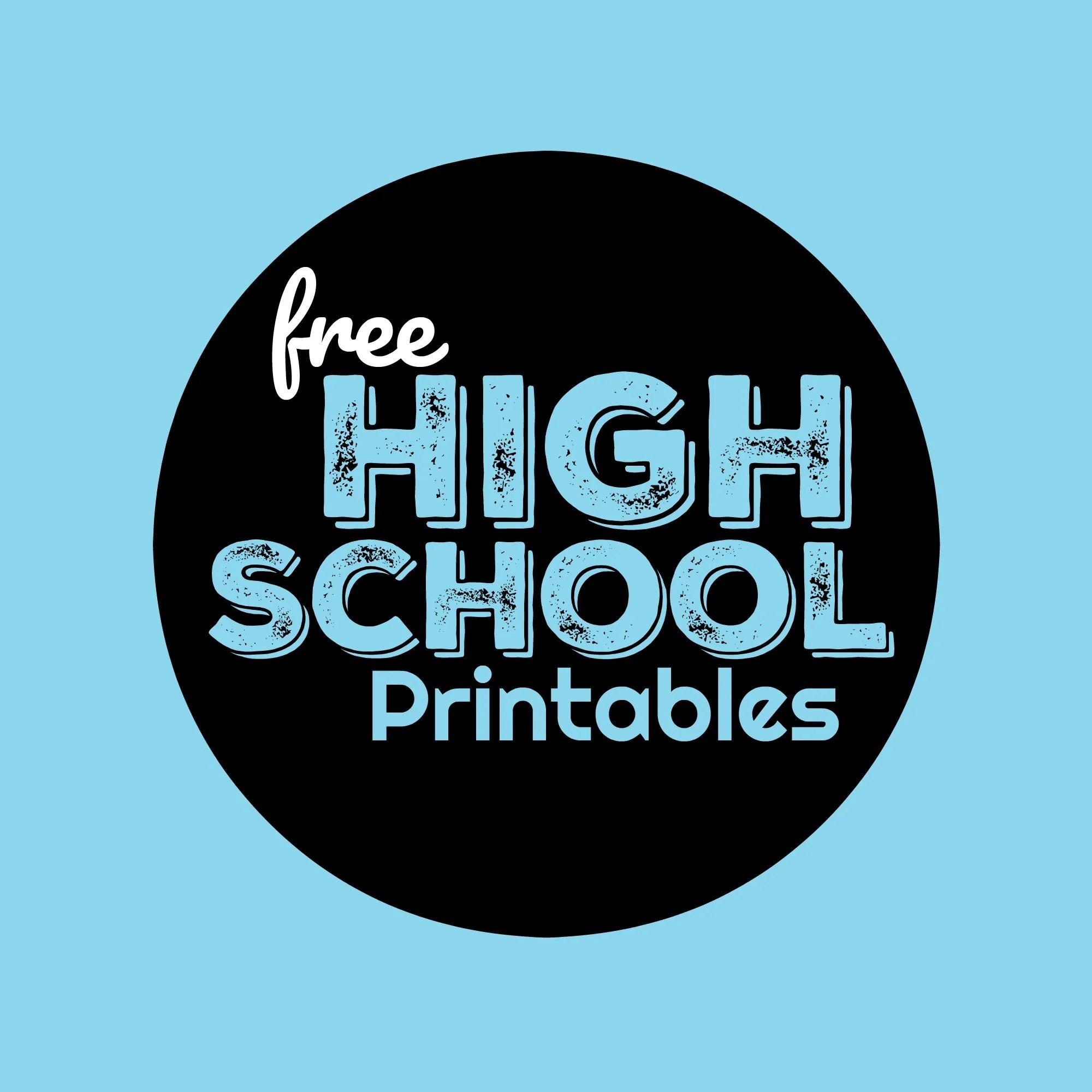 Free High School Worksheets