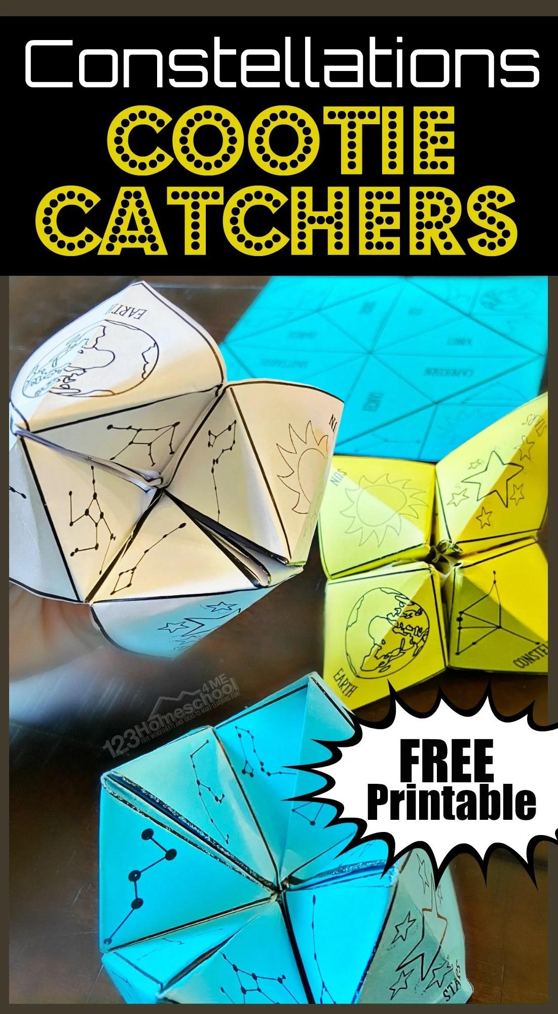 Free Cootie Catcher Constellations Printable