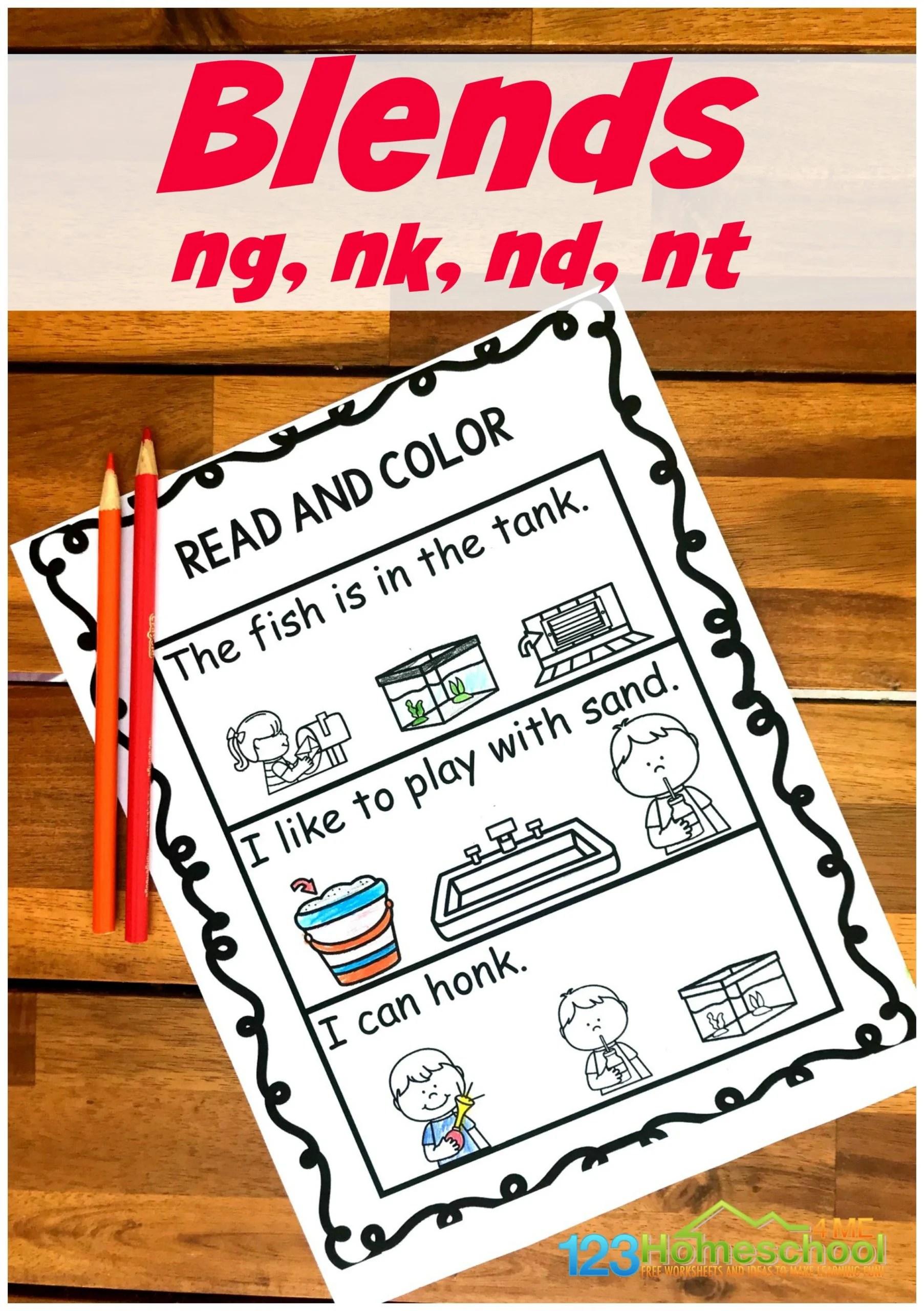 Free Read Amp Color Ending Blends Worksheets