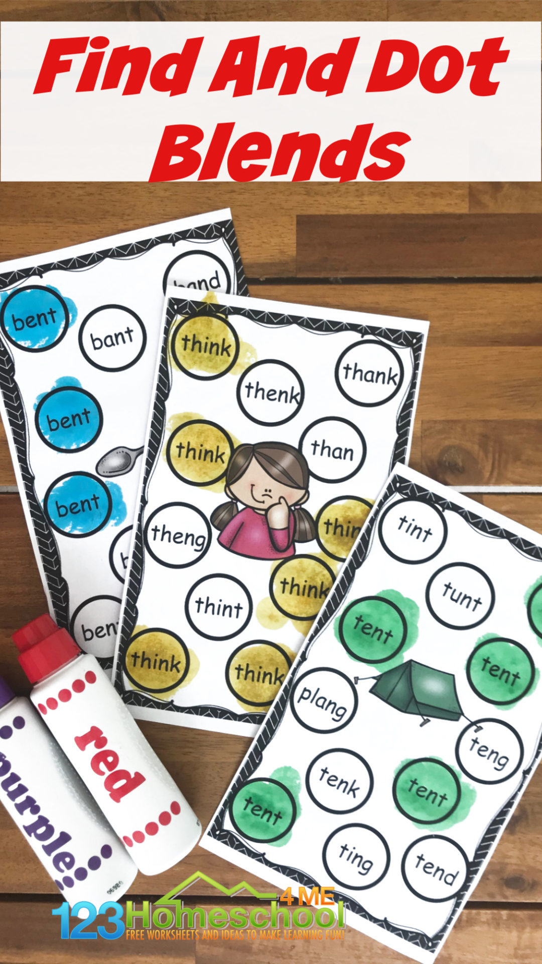 Free Find And Dot Ending Blend Activities