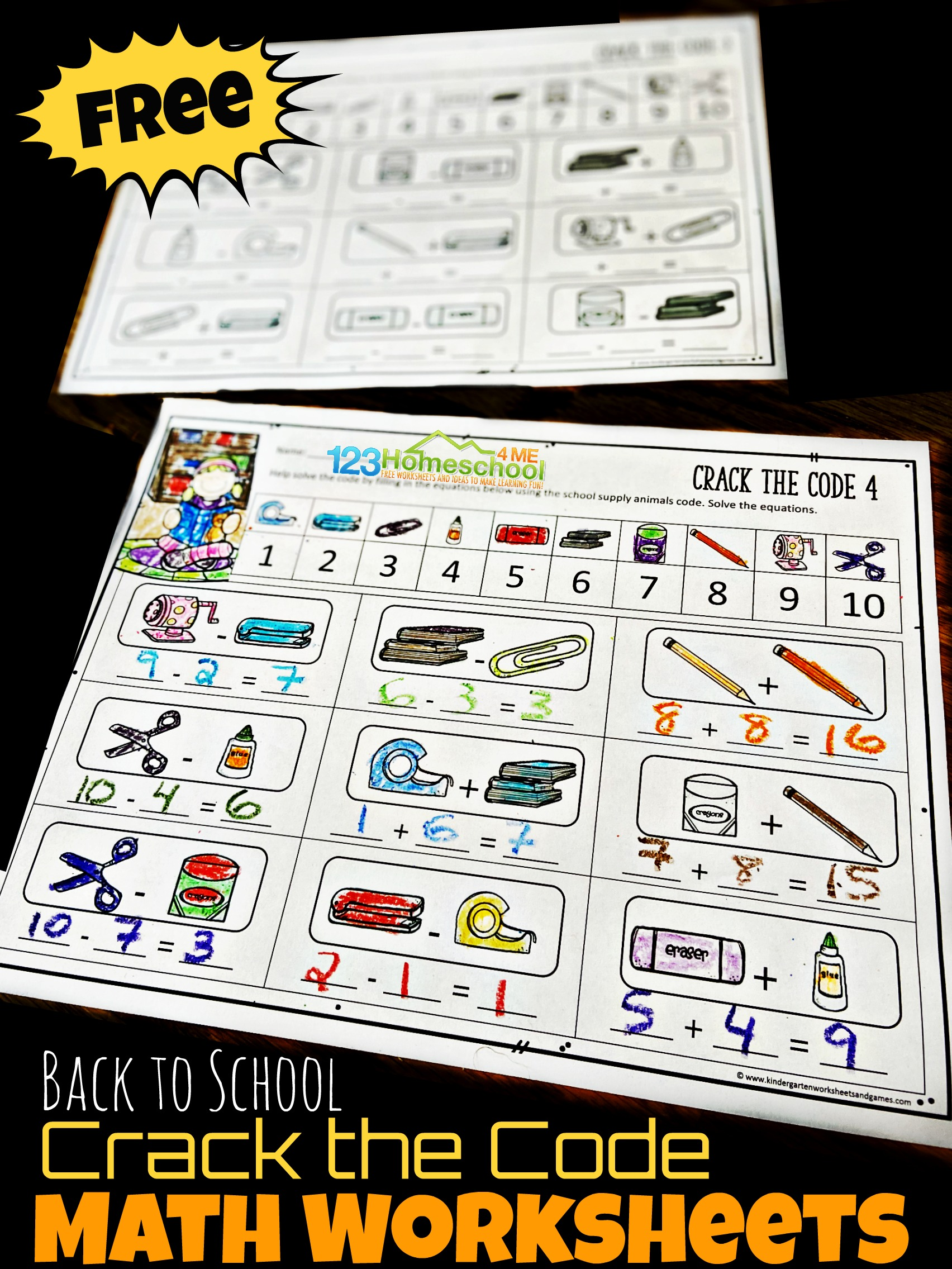 Free Back To School Crack The Code Worksheets