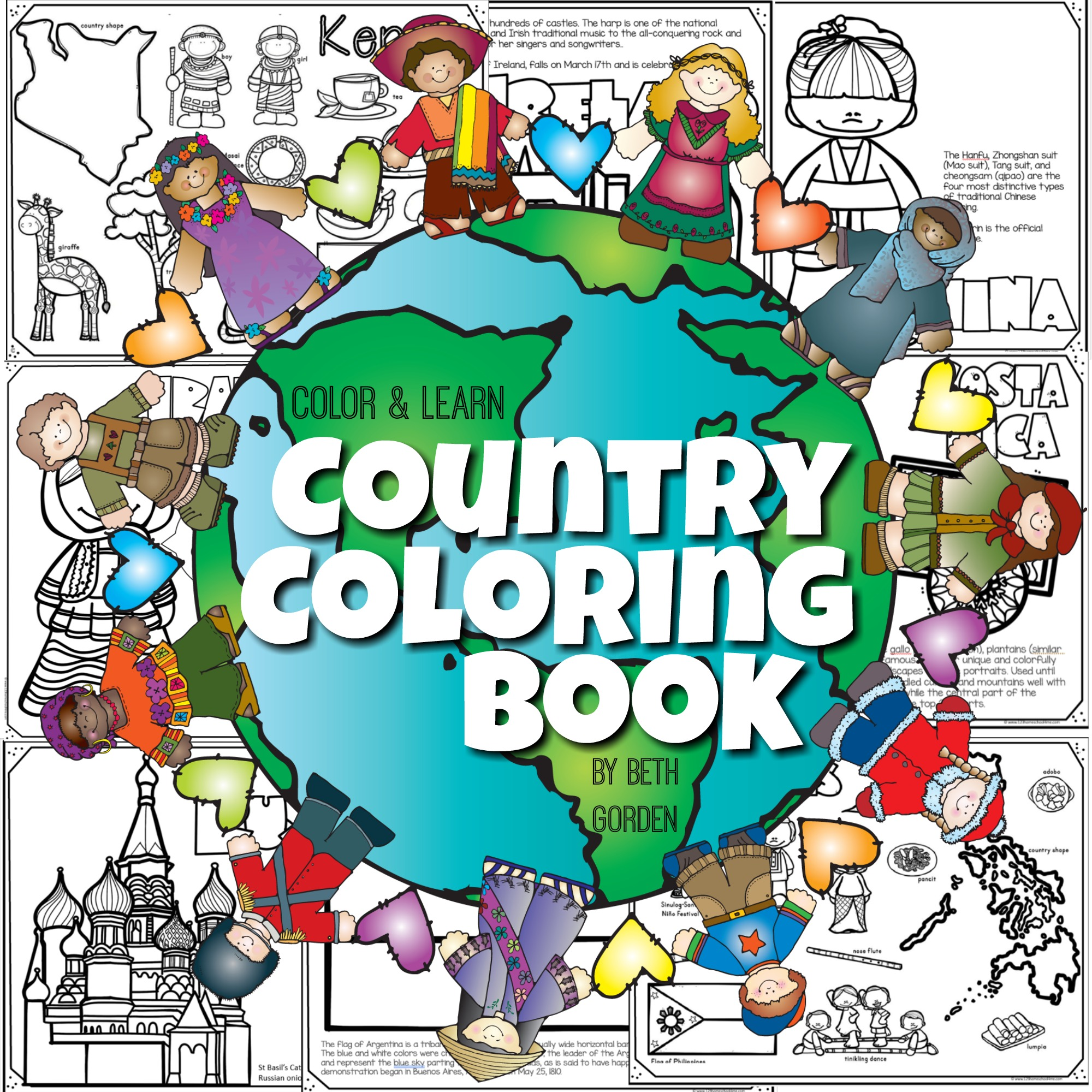 Read Color Amp Learn Country Coloring Pages