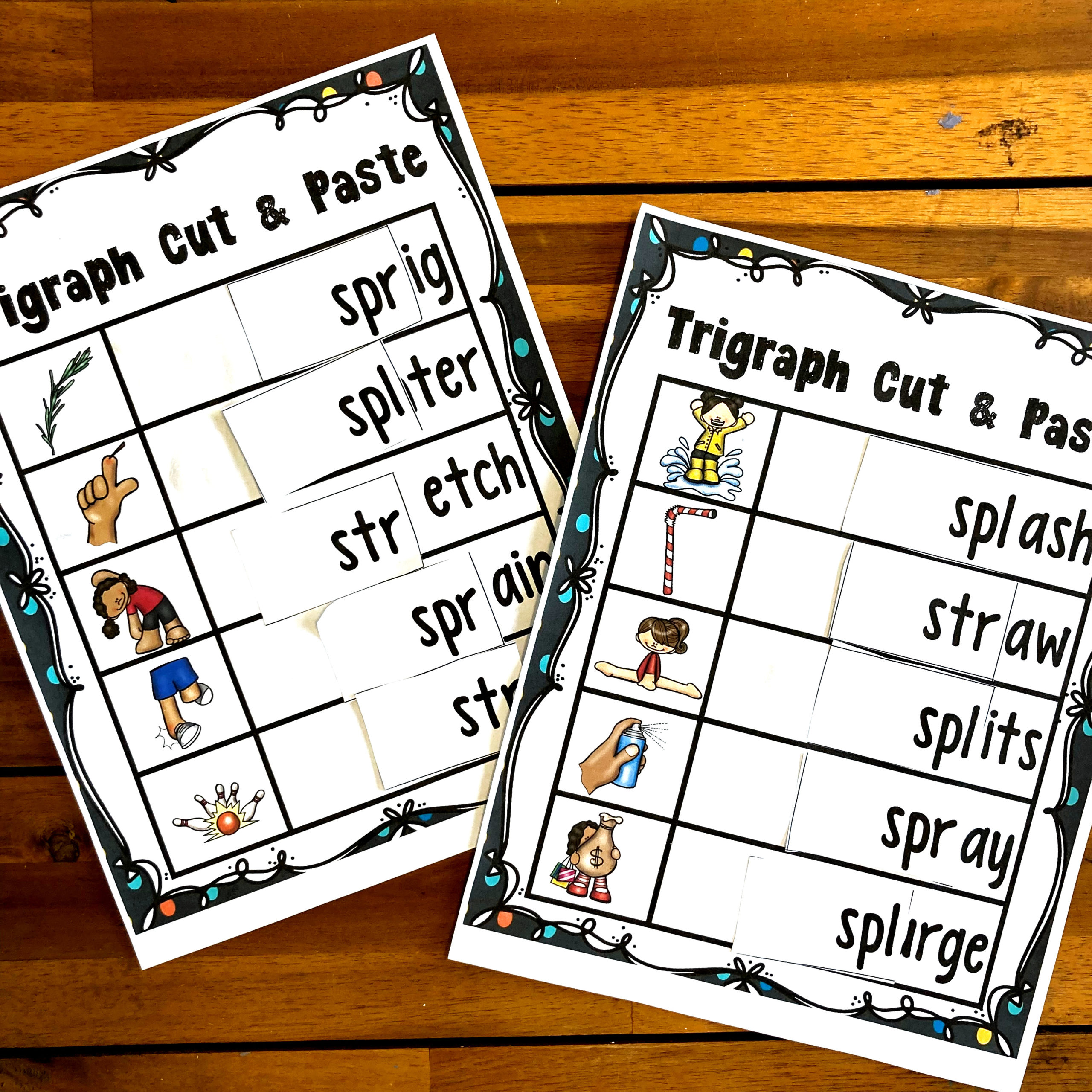 Free Trigraph Cut And Paste Worksheets