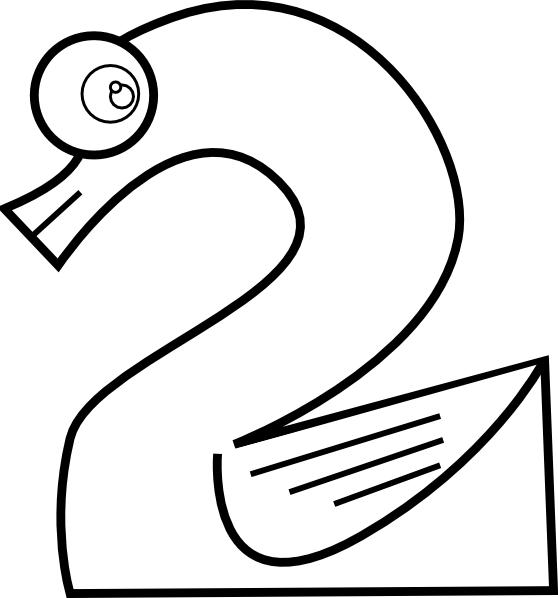 numeros 2 colouring pages