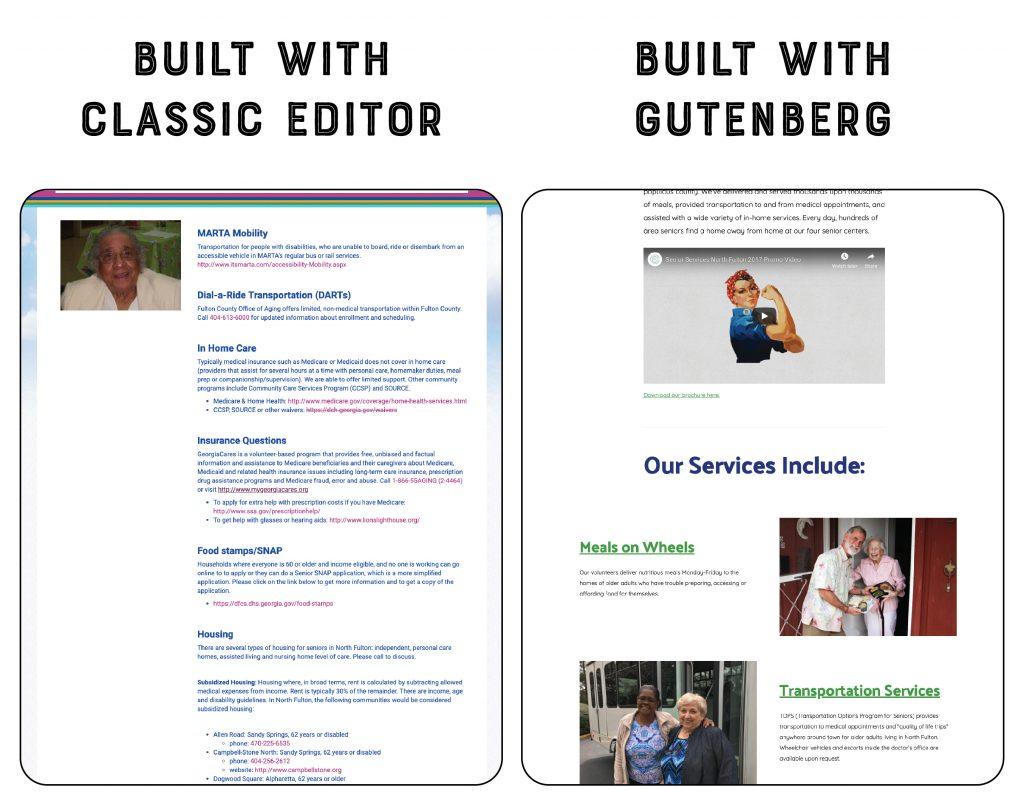 Classic editor page build vs. Gutenberg editor