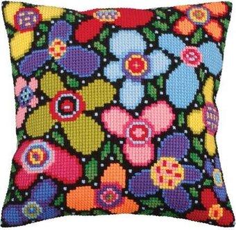 flower glade stamped needlepoint cushion kit