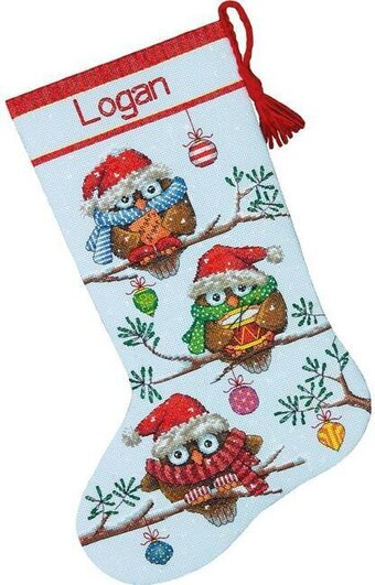 Dimensions Holiday Hooties Christmas Stocking Cross