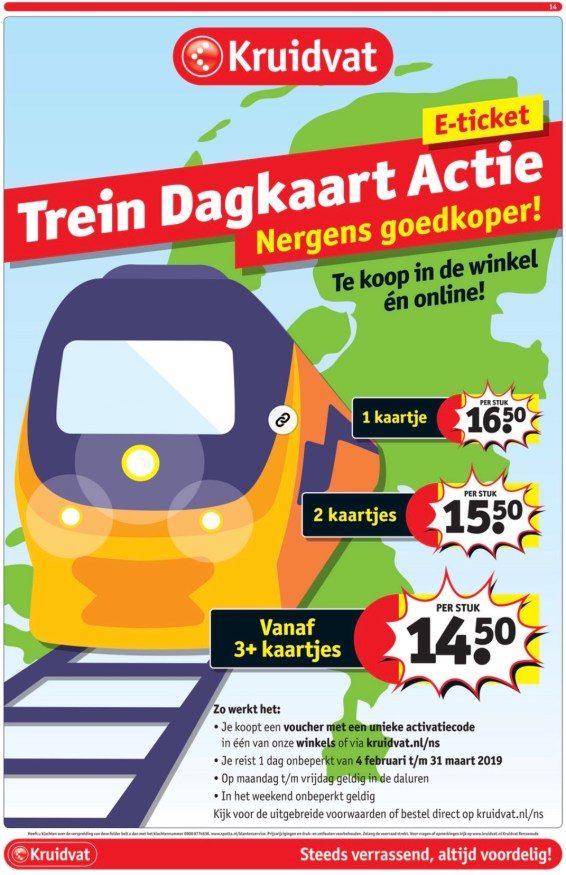 Kruidvat treinkaartjes aanbieding 2019