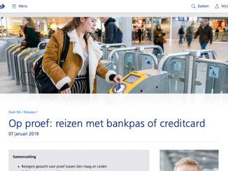 NS proefpersonen contactloos betalen bankpas of creditcard