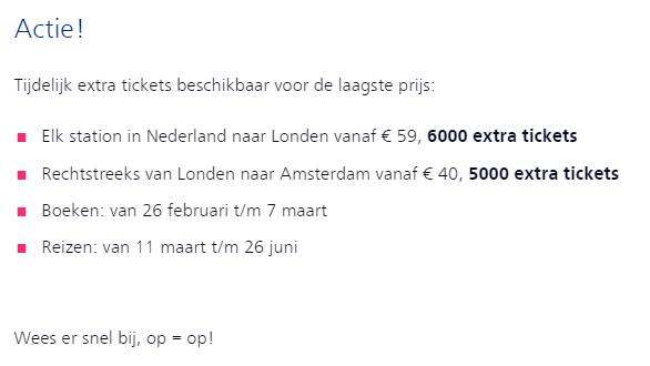 NS Treinkaartje naar Londen aanbieding 2019