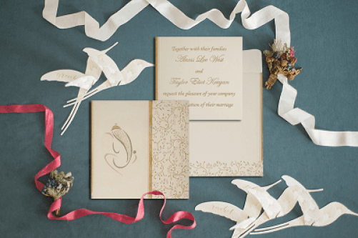 IVORY MATTE EMBOSSED WEDDING INVITATIONS-IN-2153- 123WeddingCards