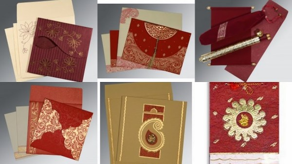 Gold & Burgendy Theme Wedding Invitations