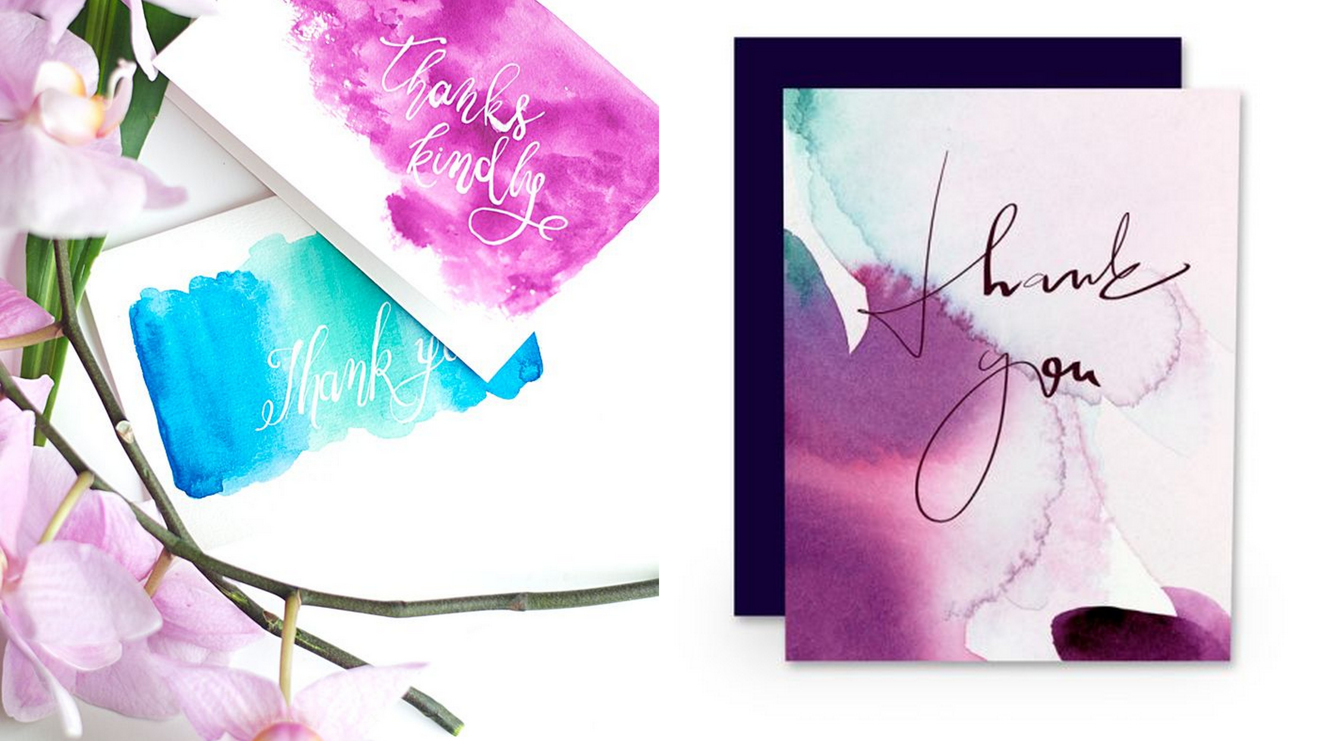 Water Color Thank You Cards 123WeddingCards