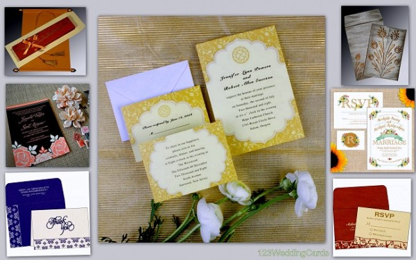Floral Theme Rustic Wedding invitations - 123WeddingCards