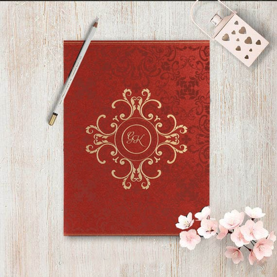 Red Shimmery Screen Printed Wedding Invitations- 123WeddingCards