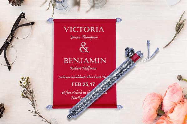 Red Scroll Wedding Invitations - 123WeddingCards