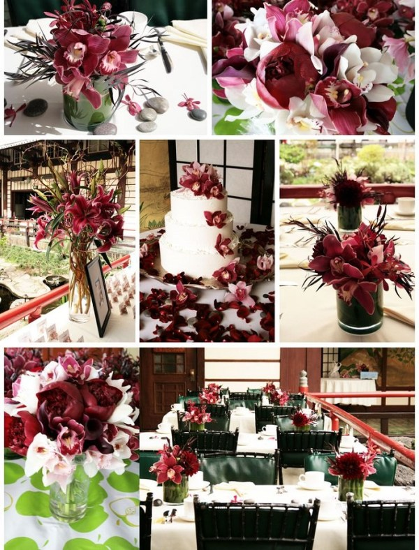Burgundy coloured flowers as decoration