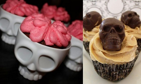 skeleton shape cupcakes