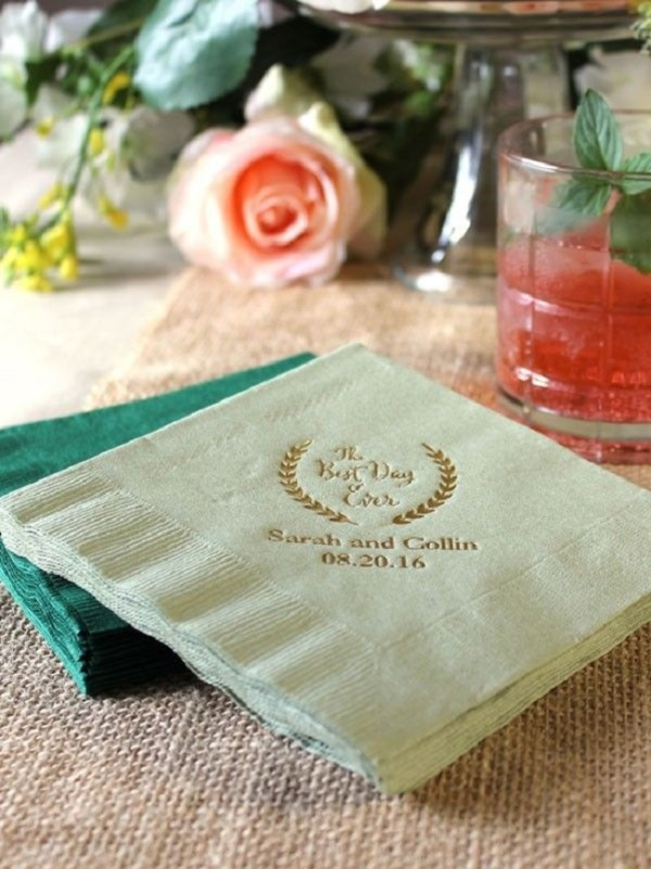Puny napkins with date, time and name