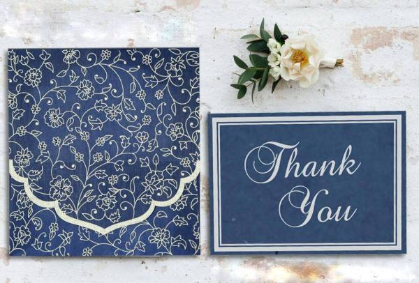 Blue Screen Printed Wedding Invitations - IN -8211- P -123WeddingCards
