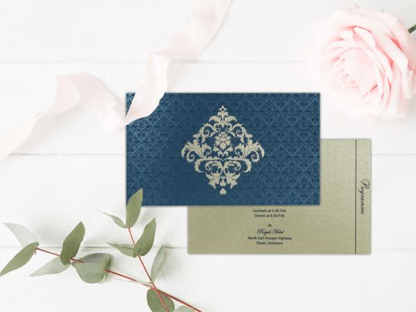 Blue Shimmery Damask Themed Wedding Invitations - IN-8257-G - 123WeddingCards