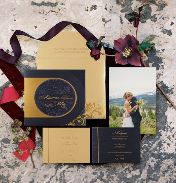 Blue Shimmery Paisley Themed Wedding Invitations - 123WeddingInvitations
