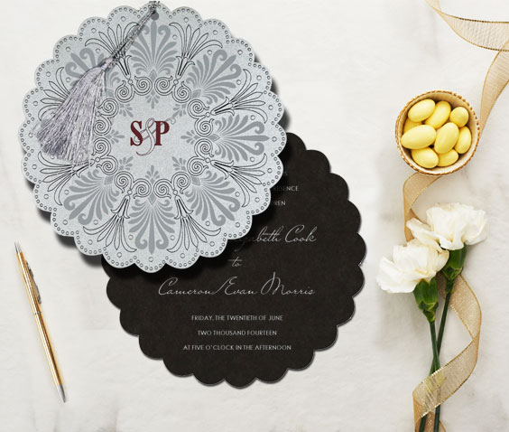Geometric patterns and designs in wedding invitations from 123WeddingCards