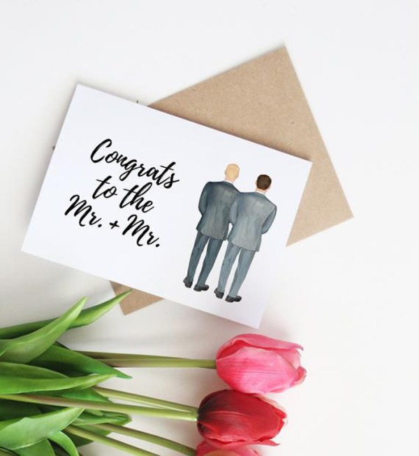 How about a rainbow themed wedding invitation card