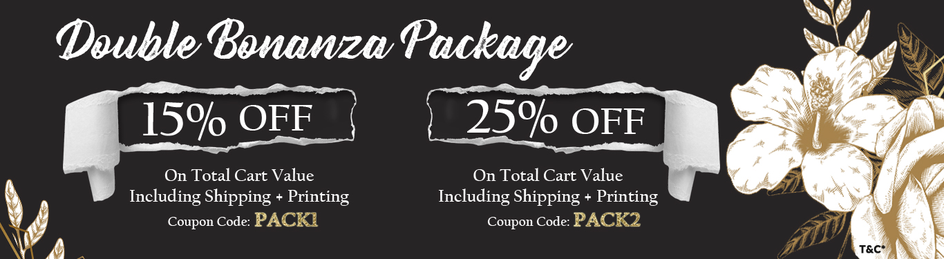 Double Bonanza Package Up to 25% Off on Wedding Cards and Wedding Stationery - 123WeddingCards