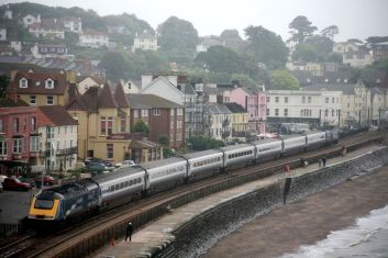 The famous sea wall at Dawlish is the setting for this Midland Mainline livery set heading North (c) Dave Mulligan