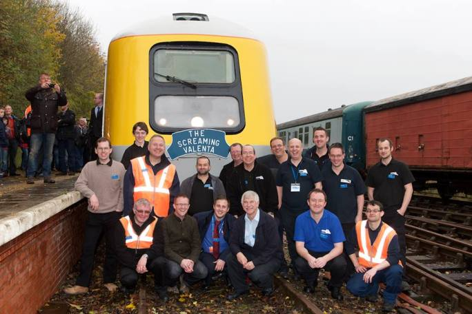 The 'Screaming Valenta' team pose infront of 41001 at Ruddington