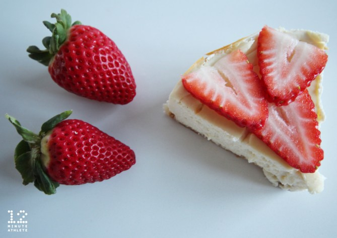 Strawberry Topped Protein Cheesecake With Graham Cracker Crust