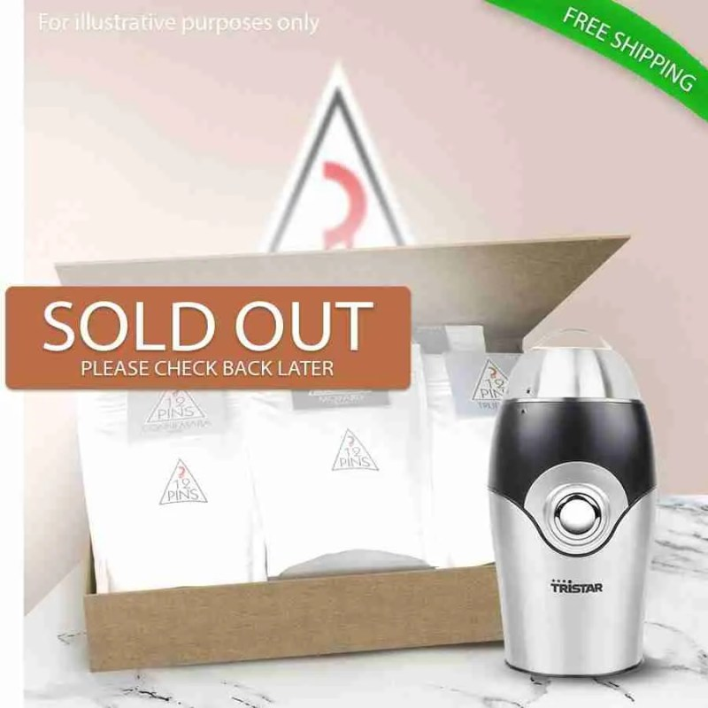 12 Pins coffee variety gift pack with a coffee grinder