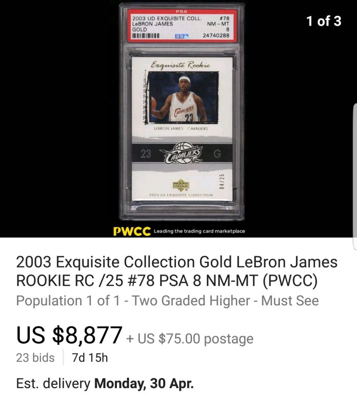 2003-Upper-Deck-Exquisite-LeBron-James-Gold-RC-psa-8