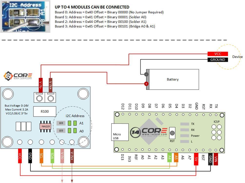 Wiring The I2c Ina219 Zero Drift Bidirectional Current