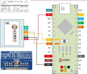 Wiring OLED 128×64 13 inch Display on SPI, i2C | 14core