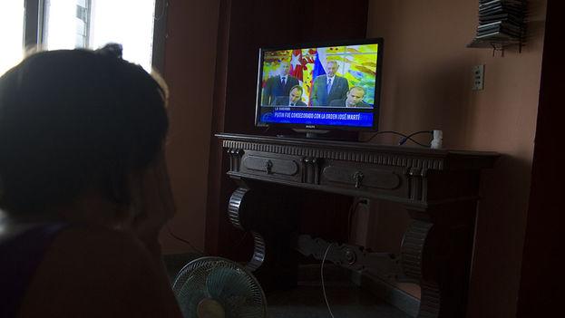 Putin y Castro en la televisión cubana. (14ymedio)