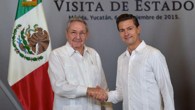 El presidente Raúl Castro durante su visita de Estado a México, con su homólogo Enrique Peña Nieto. (Presidencia de la República/Gustavo Camacho)