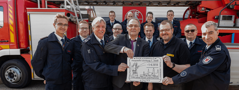 Eigener Poststempel für 150 Jahre Feuerwehr Radevormwald Löschzug 1 – Stadt