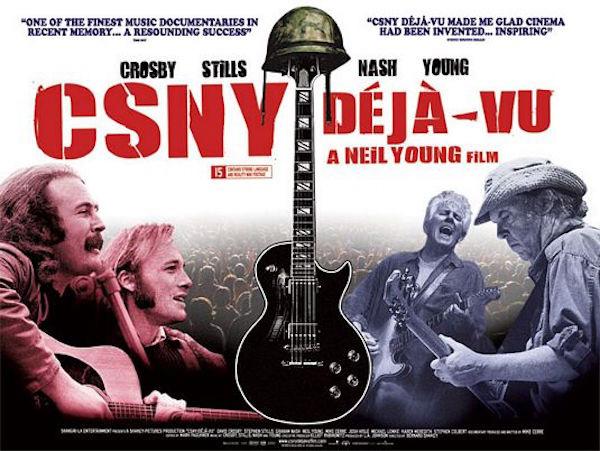 Fig. 15: På filmplakaten til Youngs dokumentar om den meget politiske 2006 CSNY-tour er guitaren i bedste Vietnam-ikonografi blevet iklædt militærhjelm.